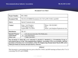 Telecommunications Industry Association	TR-30.3/05-12-043