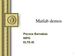 M atlab  demos