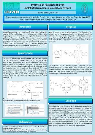 Synthese en  karakterisatie  van metalloftalocyanines en metalloporfyrines