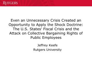 Jeffrey Keefe Rutgers University