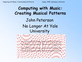 Computing with Music: Creating Musical Patterns