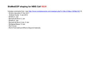 BioMedCEP shaping for NBIS Call  V0.91