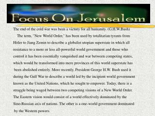 Israel and The World Order