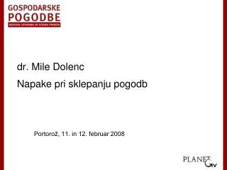 dr. Mile Dolenc Napake pri sklepanju pogodb