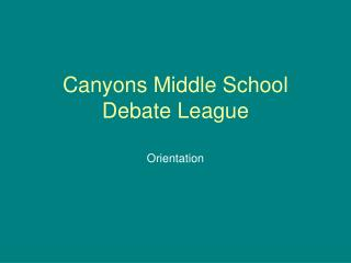 Canyons Middle School Debate League