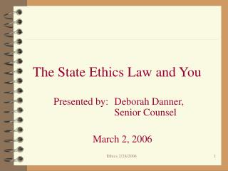 The State Ethics Law and You