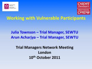 Working with Vulnerable Participants