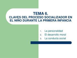 TEMA 6. CLAVES DEL PROCESO SOCIALIZADOR EN EL NIÑO DURANTE LA PRIMERA INFANCIA