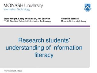 Research students' understanding of information literacy