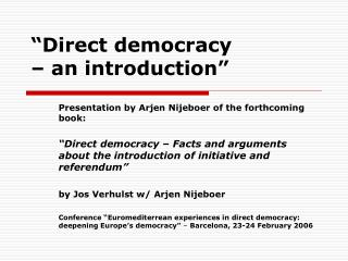 �Direct democracy  � an introduction�