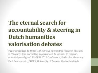 The eternal search for accountability & steering in Dutch humanities valorisation debates
