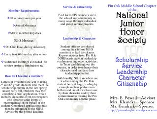 Pin Oak Middle School Chapter of the National Junior Honor Society Scholarship Service  Leadership