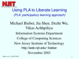 Using PLA to Liberate Learning (PLA: participatory learning approach)