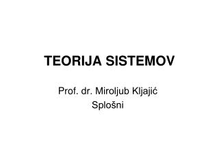 TEORIJA SISTEMOV