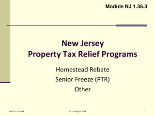 Homestead Property Tax Rebate Nj