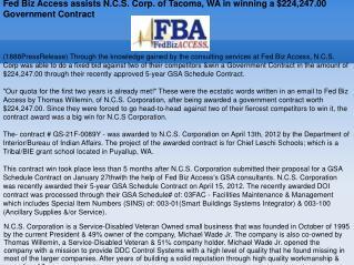 Fed Biz Access assists N.C.S. Corp. of Tacoma, WA in winning