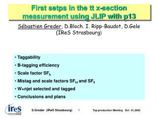 First setps in the tt x-section measurement using JLIP with p13