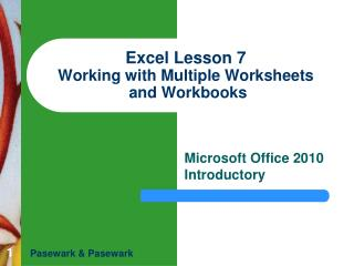 Excel Lesson 7 Working with Multiple Worksheets  and Workbooks