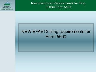 New Electronic Requirements for filing  ERISA Form 5500