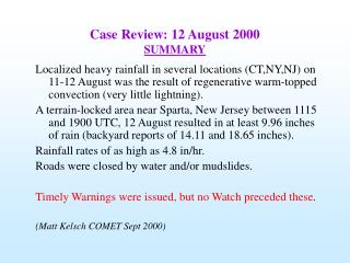 Case Review: 12 August 2000 SUMMARY