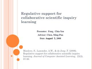 Regulative support for collaborative scientific inquiry learning