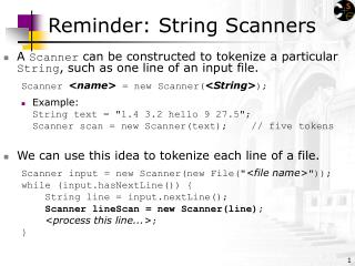 Reminder: String Scanners
