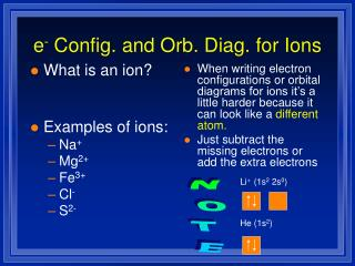 e -  Config. and Orb. Diag. for Ions