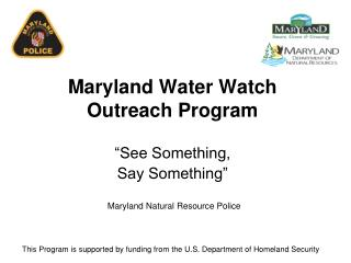 Maryland Water Watch Outreach Program