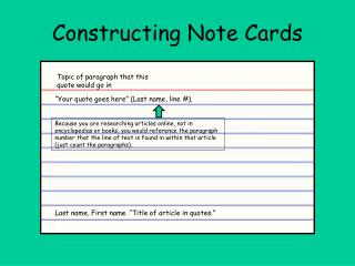 Constructing Note Cards
