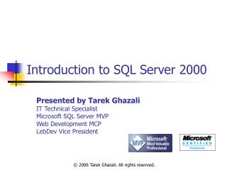 Introduction to SQL Server 2000