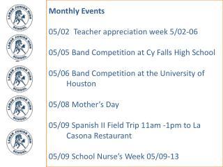 Monthly Events 05/02  Teacher appreciation week 5/02-06