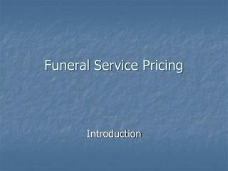 Funeral Service Pricing