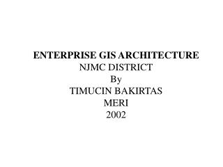 ENTERPRISE GIS ARCHITECTURE  NJMC DISTRICT By TIMUCIN BAKIRTAS MERI 2002