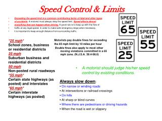 Speed Control & Limits