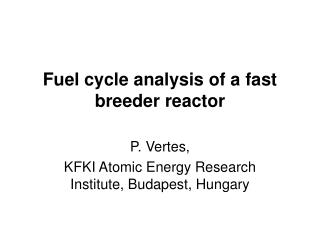 Fuel cycle analysis of a fast breeder reactor