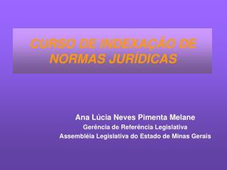 CURSO DE INDEXAÇÃO DE NORMAS JURÍDICAS