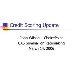 Credit Scoring Update