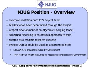 NJUG Position - Overview