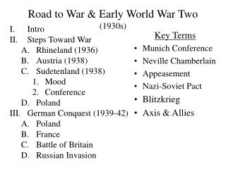 Road to War  Early World War Two 1930s