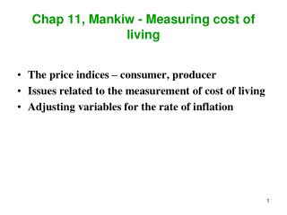Chap 11, Mankiw - Measuring cost of living
