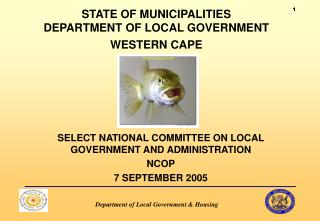 STATE OF MUNICIPALITIES DEPARTMENT OF LOCAL GOVERNMENT WESTERN CAPE