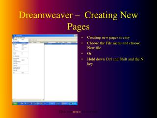 Dreamweaver –  Creating New Pages
