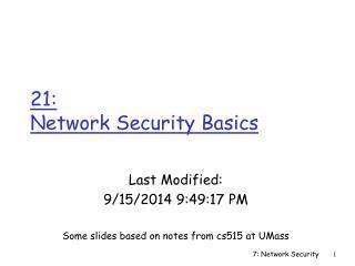 21:  Network Security Basics