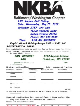 19th  Annual  Golf  Outing                 Date:  Wednesday,  May 23,  2012