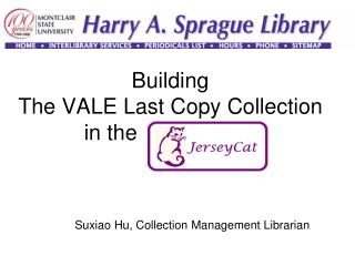 Building  The VALE Last Copy Collection in the  JerseyCAT