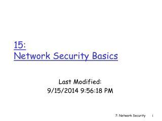 15:  Network Security Basics