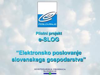 """Pilotni projekt e-SLOG """"Elektronsko poslovanje slovenskega gospodarstva"""""""