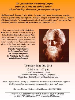Thursday, June 9th, 2011 12:00 p.m.-1:00 p.m. LJ-150, Asian Division Foyer
