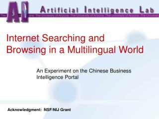 Internet Searching and Browsing in a Multilingual World