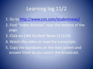 Learning log 11/2